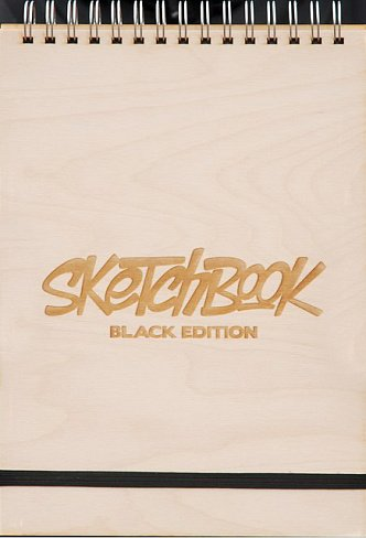 Скетчбук Sindik Wood Black Edition черные листы А4
